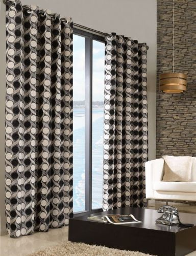 STYLISH TRENDY RINGTOP EYELET LINED CIRCLE PATTERN CURTAINS BLACK & CREAM COLOUR